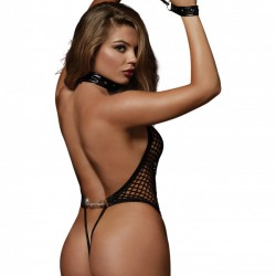 Dreamgirl Black Teddy with Studded Neckline and Wrist Restraints