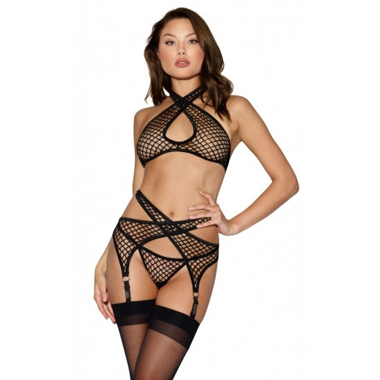 Dreamgirl  Three-Piece Fishnet Bralette Set