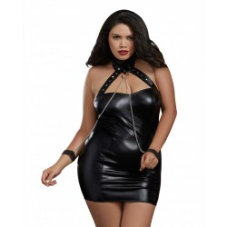 Dreamgirl Black Leather-Look Knit Collar Chemise with Chain Restraints