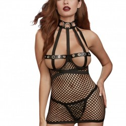 Dreamgirl Fishnet Open Cup Chemise Fetish Play Set