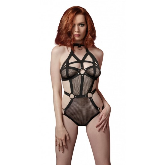 Dreamgirl Black Stretch Fishnet Teddy with Strappy Elastic Trim