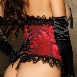 JACQUARD CORSET RED/BLACK